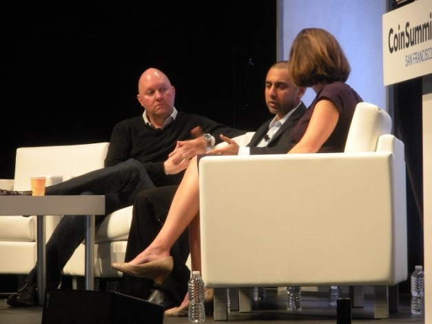 Marc Andreessen with Balaki Srinivasan and moderator Kashmir Hill from Forbes. Photo by Biz Carson/Gigaom[